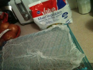 Use cheesecloth to keep vegetables from falling through.