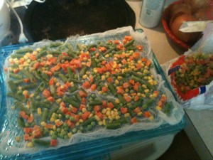 One tray of frozen mixed vege.