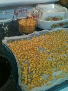 One bag of frozen corn, when dehydrated, takes up less space.
