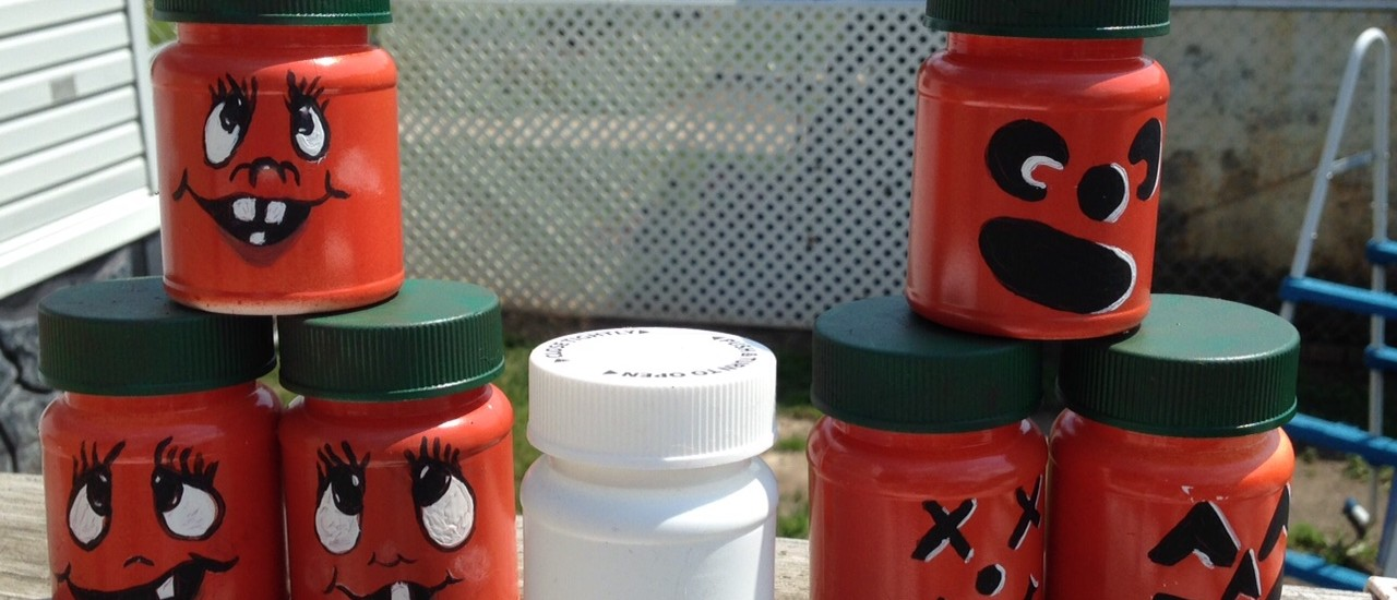 pill bottles painted